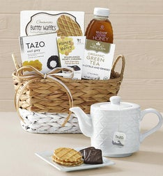 Wintry Warmer Holiday Tea Gift Basket with Teapot