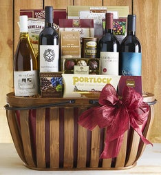 Countryside 4 Bottle Wine & Gourmet Gift Basket