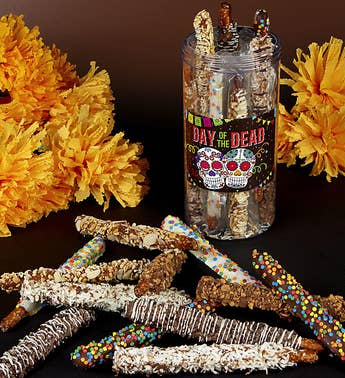 Day of the Dead Deluxe Dipped Pretzels in Jar