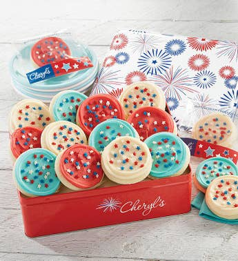 Cheryls Patriotic Tin with Cut-Out Cookies