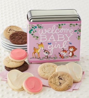 Cheryls Welcome Baby Girl Assorted Tin