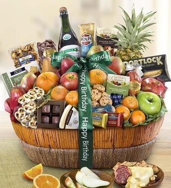 Happy Birthday Fruit  Sweets Gift Basket