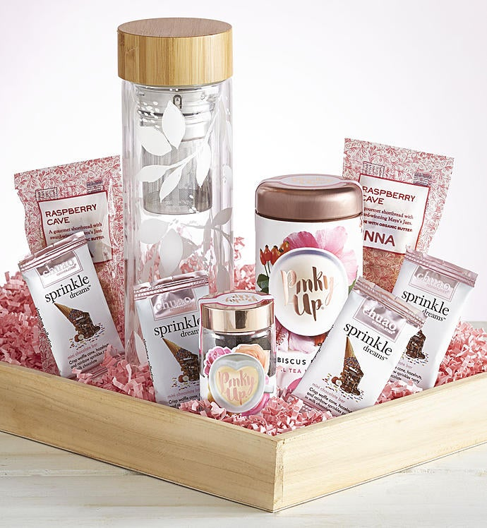 Glass Tea Infuser with Treats Gift Crate