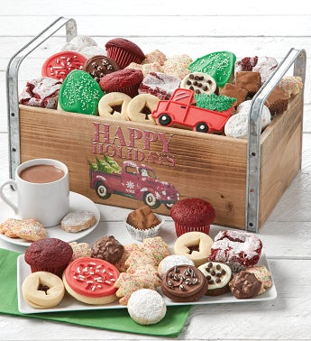 Happy Holidays Wooden Dessert Tray - Grand