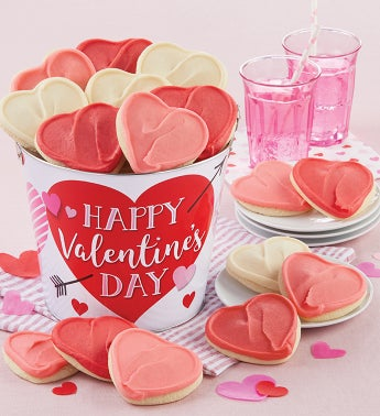 Happy Valentines Day Buttercream Frosted Cookie Pail