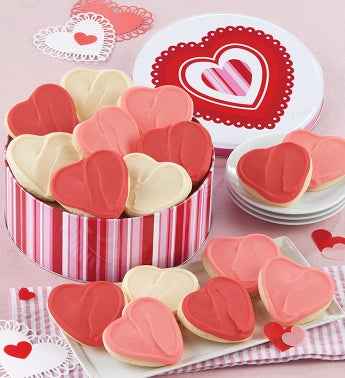 Happy Valentines Day Buttercream Frosted Cookie Tin