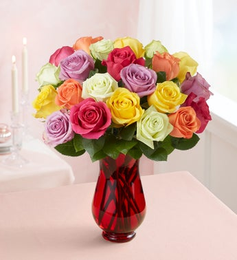 Two Dozen Assorted Roses for Mothers Day