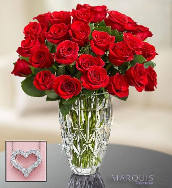 Red Roses in Marquis by Waterford Vase
