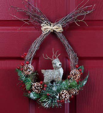 Reindeer Holiday Wreath - 12