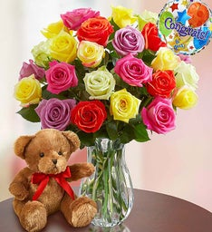 Congratulations Assorted Roses, 12-24 Stems