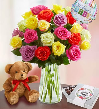 New Baby Celebration Assorted Roses 12-24 Stems