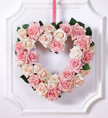 Keepsake Pink Rose Heart-Shaped Wreath – 12""