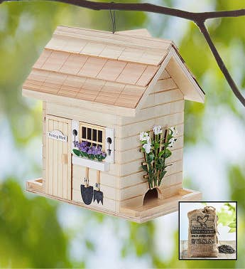 Potting Shed Birdfeeder with Seed