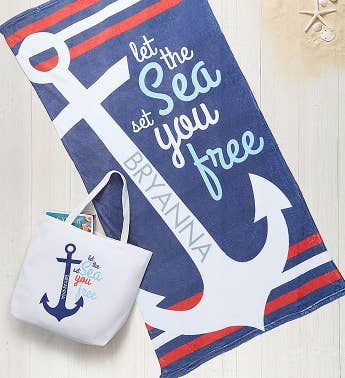 Personalized Anchor Towel and Tote