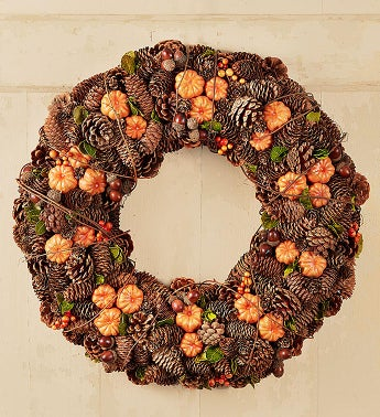 Fall Pumpkins and Pinecones Wreath - 22