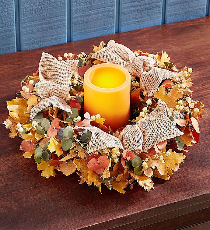 Harvest Blessings Preserved Centerpiece and Wreath