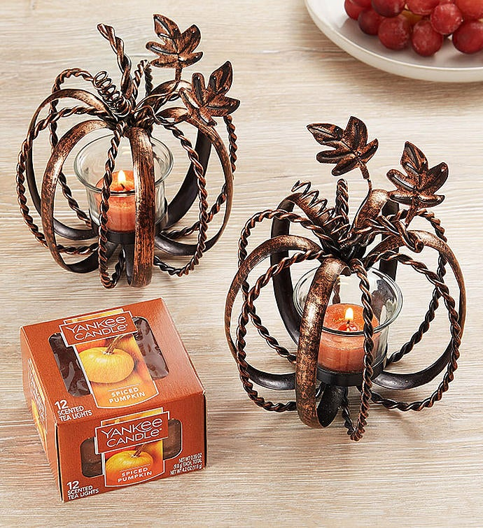 Pumpkin Tealight Duo with Yankee Candle Tealights