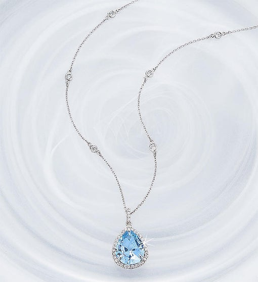 Crislu Blue Quartz Pendant Necklace