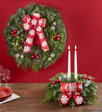 Holiday Cheer Evergreens Wreath  Centerpiece