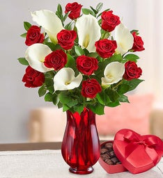 Stunning Red Rose & Calla Lily Bouquet for Valentine's
