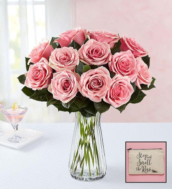 Pink Roses with Free Ros Cosmetic Bag