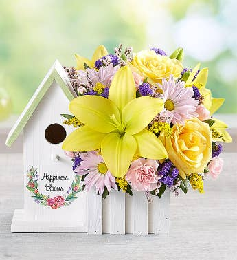 Happiness Blooms Birdhouse - Yellow