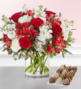 Crimson Rose Bouquet with Strawberries