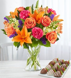 Vibrant Floral Medley with Strawberries