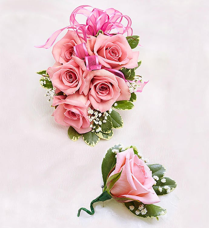 Pink Rose Corsage  Boutonniere