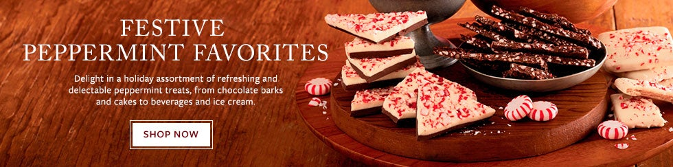 FESTIVE PEPPERMINT FAVORITES. Delight in a holiday assortment of refreshing and delectable peppermint treats, from chocolate barks and cakes to beverages and ice cream. SHOP NOW