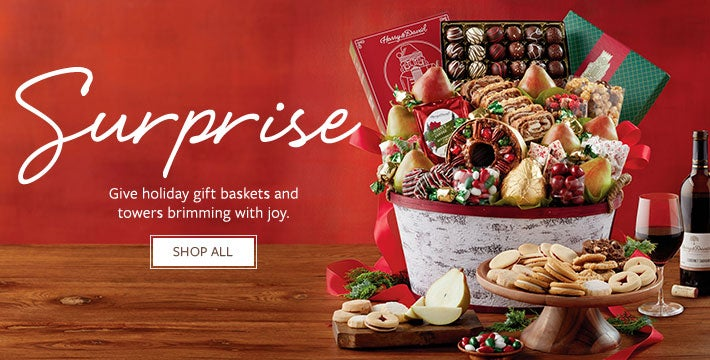 Share. Give holiday gift baskets and towers brimming with joy. SHOP ALL.
