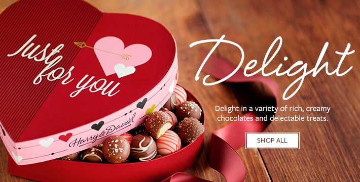 Delight. Delight in a variety of rich, creamy chocolates and delectable treats. SHOP ALL