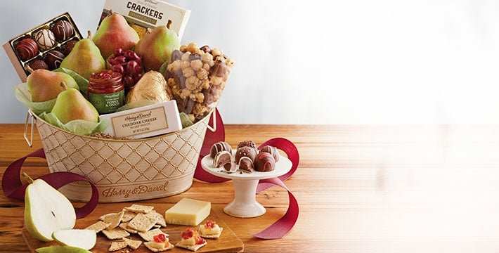 IMPRESS WITH THE BEST. Go all out for friends and loved ones with gift baskets, boxes, and towers filled to the brim with exceptional delights. SHOP ALL