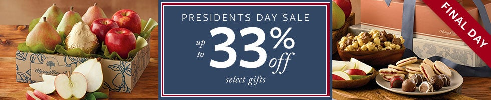 FINAL DAY. Presidents Day Sale. Up to 33% off Select Gifts.