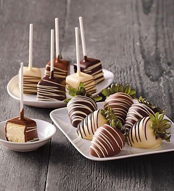 Chocolate-Covered Strawberries and Cheesecake Pops