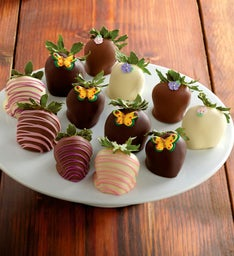 Butterfly Chocolate-Covered Strawberries - One Dozen
