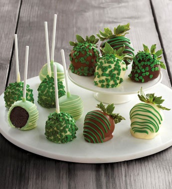 St Patrick39s Day Chocolate-Covered Strawberries and Cake Pops