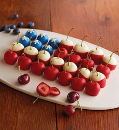Chocolate-Dipped Cherry and Blueberry Flag
