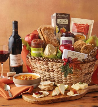 Harvest Gift Basket with Wine