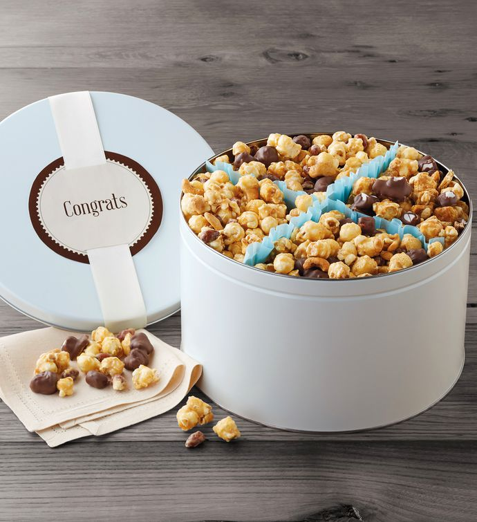 Congratulations Moose Munch Premium Popcorn Tin