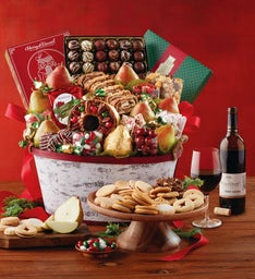 Christmas Celebration Gift Basket with Wine