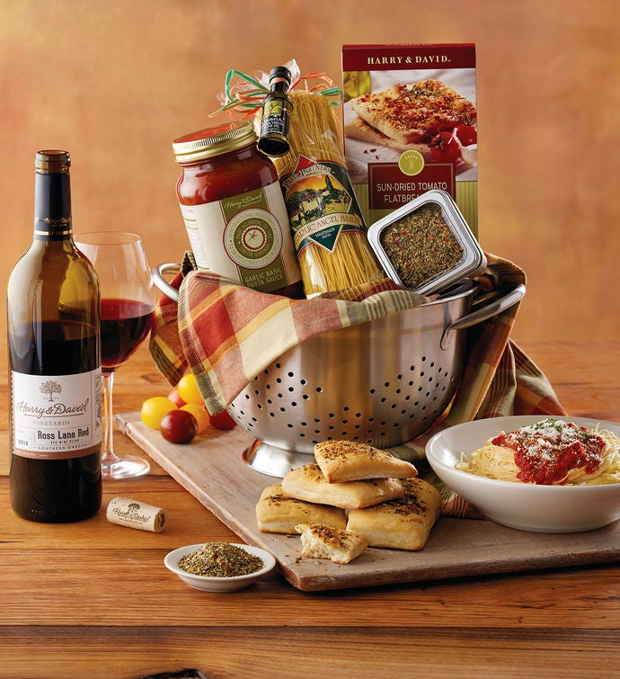 Pasta Gift Basket With Wine Italian Gift Baskets Harry