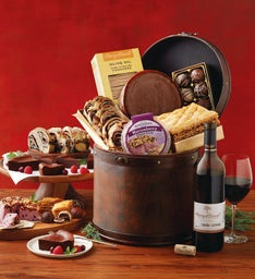 Vintage Gourmet Hatbox with Wine