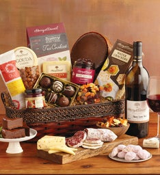 Vintage Gourmet Specialty Snacks Basket with Wine