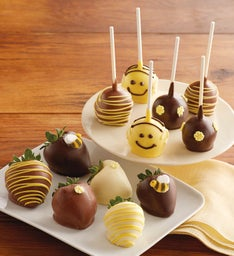 Bumble Bee Chocolate-Covered Strawberries and Cake Pops