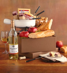 Cheese Fondue Set with Wine