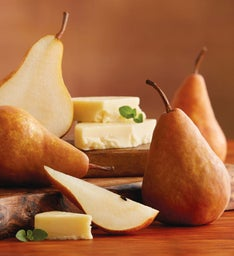 Bosc Pears and Barron County Co. Havarti Cheese