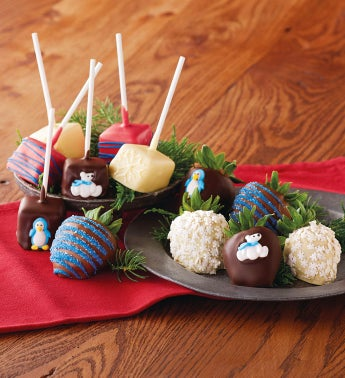 Winter Chocolate-Covered Strawberries and Cheesecake Pops