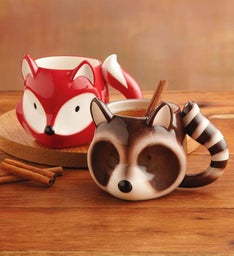 Fox and Raccoon Mug Set
