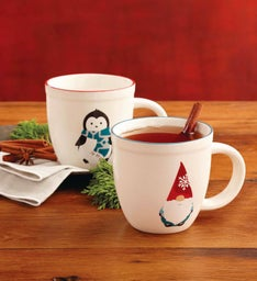 Gnome and Penguin Mug Set